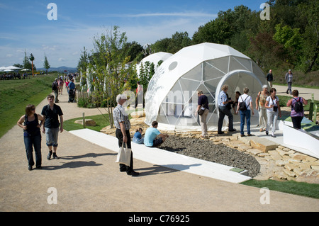 Diversity in Life exhibition pods at the Federal Horticultural Show or BUGA Bundesgartenschau held in Koblenz Germany - Stock Photo