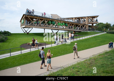 Viewing platforms at the Federal Horticultural Show or BUGA Bundesgartenschau held in Koblenz Germany 2011 - Stock Photo