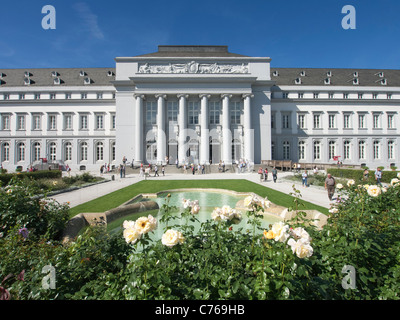 Gardens at the Kurfurstliches Schloss or Electoral Palace at the Federal Horticultural Show or BUGA Bundesgartenschau - Stock Photo
