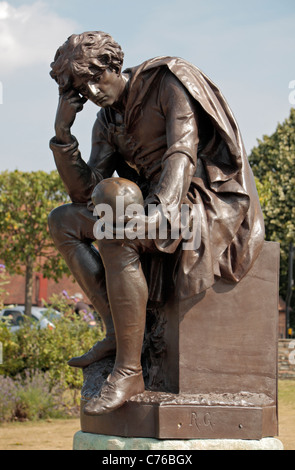 The Hamlet statue beside the William Shakespeare Gower Memorial in Stratford-Upon-Avon, Warwickshire, UK. - Stock Photo