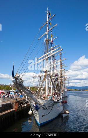 Bow of 'Christian Radich' , a fully rigged ship, Class A, berthed at Greenock, Renfrewshire - Stock Photo