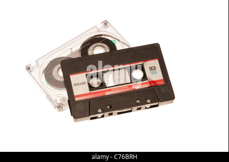Old Maxell C90 audio cassette tapes - Stock Photo