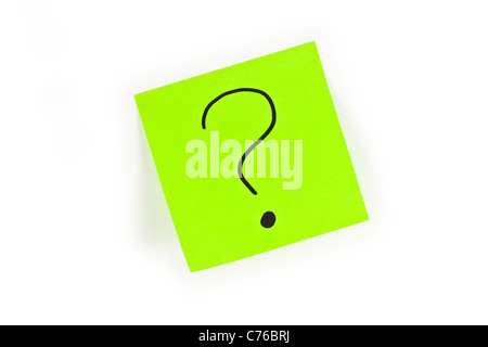 Post-it with a question mark written on it isolated on white - Stock Photo