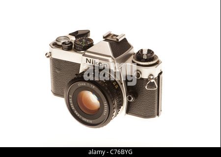 Nikon FE 35mm SLR single lens reflex film camera, Classic camera, 50mm f1.8E lens - Stock Photo