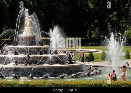 Latona Fountain, Herrenchiemsee Herreninsel Upper Bavaria Germany - Stock Photo