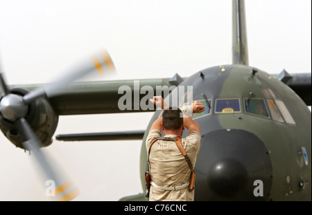 A Bundeswehr's Transall C-160 aircraft Kunduz Afghanistan - Stock Photo