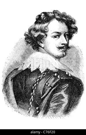 Portrait Sir Anthony van Dyck Flemish Baroque artist court painter famous painted English painting biblical mythological - Stock Photo