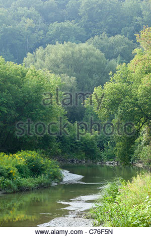 Rouge River flowing through the lush Carolinian Forest of Rouge National Park an urban wilderness in Toronto Ontario - Stock Photo