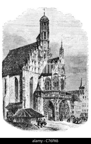 Frauenkirche Church of Our Lady Nuremberg Cathedral basilica Germany market brick Gothic mechanical clock Männleinlaufen - Stock Photo