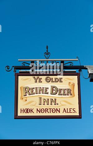 Ye Olde Reinedeer Inn pub sign in Banbury, Oxfordshire, England - Stock Photo