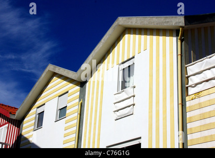 Traditional Striped House in Costa Nova, Portugal - Stock Photo