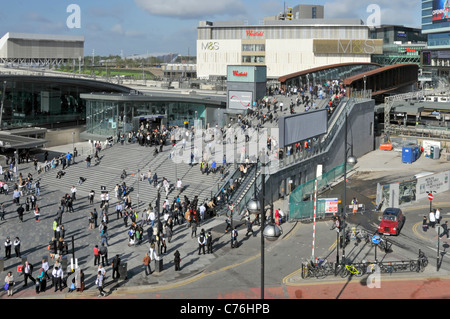 Stratford Regional station complex with Westfield Shopping Centre at Stratford City and some Olympic Park venues - Stock Photo