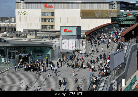 Westfield Shopping Centre main entrance bridge to shopping malls over Stratford Regional station platforms - Stock Photo