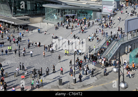 Stratford station complex with steps leading up to entrance to  Westfield Centre Shopping malls Stratford Newham - Stock Photo