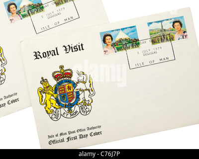 1979 First Day Cover postage stamps commemorating the first Royal Visit to the Isle of Man following the 1977 Silver - Stock Photo