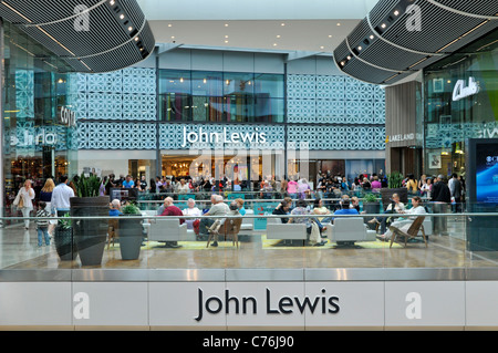 John Lewis department store entrance in shopping mall interior at the Stratford City Westfield shopping centre - Stock Photo