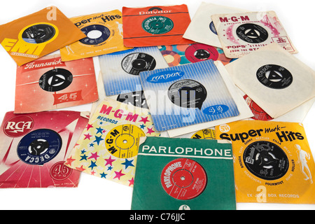 Collection of 1960's vintage 7' vinyl singles / records - Stock Photo