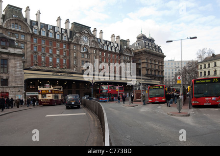 Victoria Railway Station Frontage and Forecourt -1 - Stock Photo
