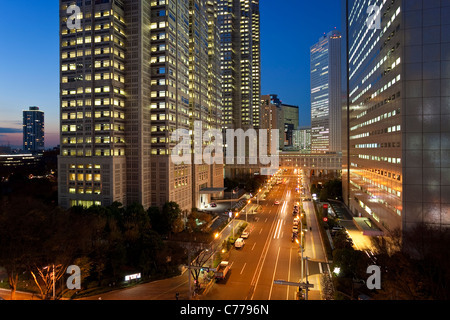 Asia, Japan, Tokyo, Shinjuku, High rise office buildings in the Financial district - Stock Photo