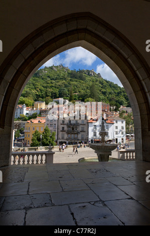Portugal, Sintra, the Praca da Republica square from the Royal Palace (Palacio Nacional de Sintra) - Stock Photo