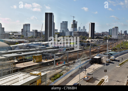 View from Westfield Stratford City over Tube station and towards central London - Stock Photo