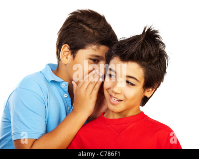 Teen boys gossip, kids telling secrets, isolated on white background,best friends concept - Stock Photo