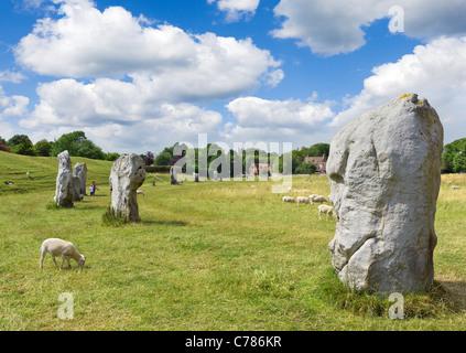 The historic Stone Circle at Avebury, Wiltshire, England, UK - Stock Photo