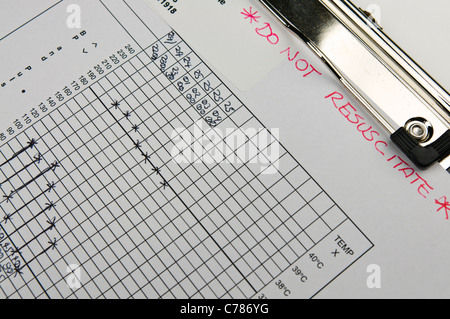 Patient's observation chart marked 'Do Not Resuscitate' - Stock Photo