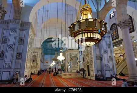 Interior of the Umayyad Mosque, Damascus, Syria - Stock Photo