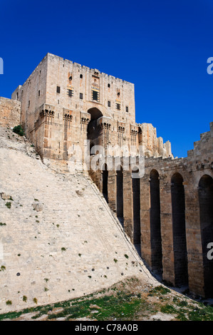 The gatehouse of the Citadel of Aleppo, Syria - Stock Photo