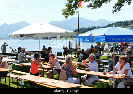 Beer garden on the Peninsular, Prien Stock Chiemsee Chiemgau Upper Bavaria Germany - Stock Photo