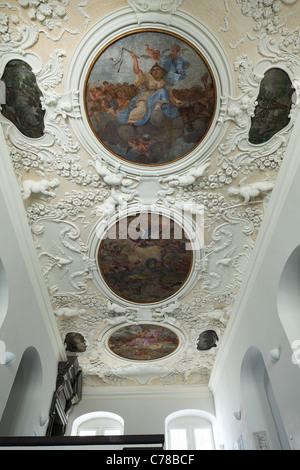 Stuckdecke und Freskomalereien im Treppenhaus vom Rathaus in Koblenz, Rhein, Mosel, Rheinland-Pfalz - Stock Photo