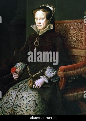 Mary I of England (1516-1558). Queen of England and Ireland. Portrait by Antonio Moro. Prado Museum. Madrid. Spain. - Stock Photo