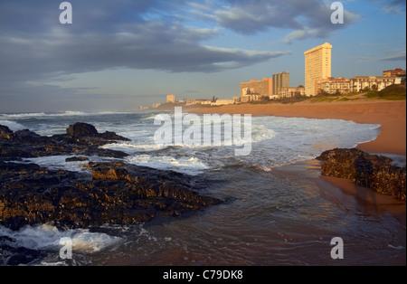 Indian Ocean and beach at Amanzimtoti, KwaZulu-Natal, South Africa. - Stock Photo
