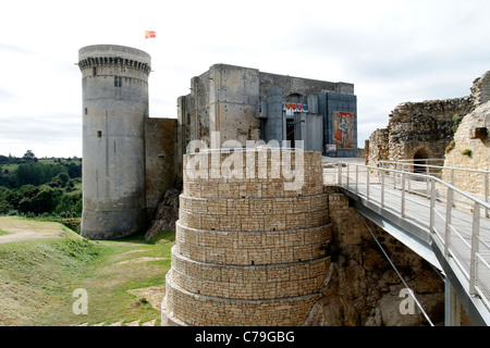 Falaise castle (Castle of Guillaume-le-Conquérant), Calvados,  Normandy, France). - Stock Photo