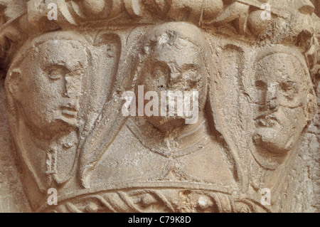 Spain, St. James Way: Romanesque capital at the Monastery church Santa Maria la Real in Irache - Stock Photo