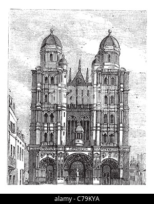 Dijon Cathedral in Burgundy, France, during the 1890s, vintage engraving. Old engraved illustration of Dijon Cathedral. - Stock Photo