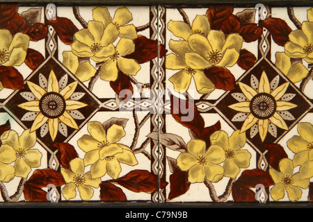Ceramic tile detail of Victorian cast-iron fireplace - Stock Photo