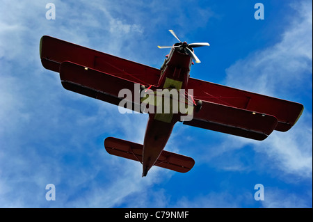 An Antonov AN-2 biplane landing. - Stock Photo