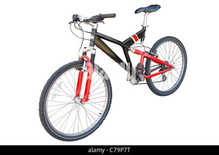Red and Black Mountain/Off Road Bicycle Isolated on white with work path - Stock Photo