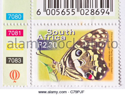 African postage stamp South Africa - Stock Photo