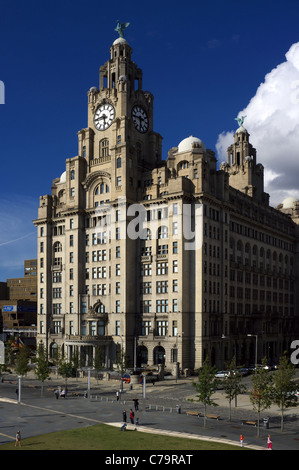 Liver building with the Liver Birds statues, Waterfront, Liverpool One, Liverpool, England, UK, Great Britain - Stock Photo