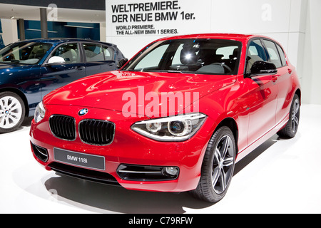 New BMW 118i on the IAA 2011 International Motor Show in Frankfurt am Main, Germany - Stock Photo
