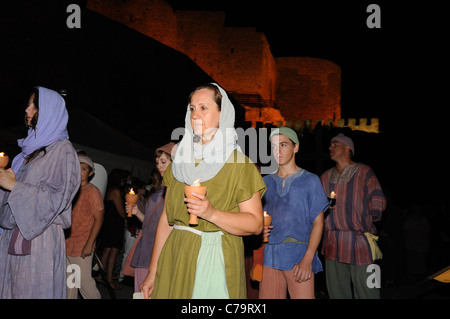 Burial Diego Rodriguez (Son of Cid ) during the Medieval Festival of CONSUEGRA .La Mancha SPAIN - Stock Photo