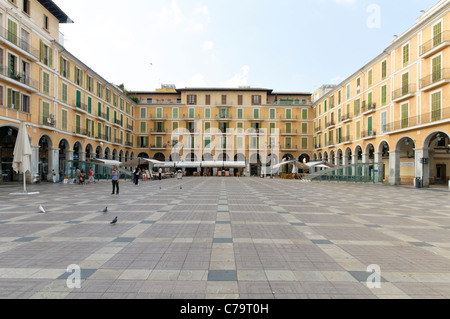 Plaza Mayor, main square in the historic town centre of Palma de Majorca, Majorca, Balearic Islands, Spain, Europe - Stock Photo