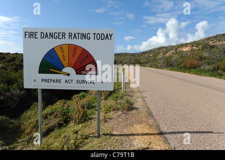 Fire Danger Rating sign, Cape Le Grand National Park, near Esperance, Western Australia, Australia - Stock Photo