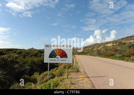 Fire Danger Rating sign Frenchman's Peak, Cape Le Grand National Park, near Esperance, Western Australia, Australia - Stock Photo