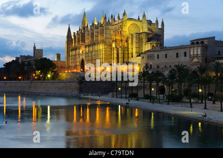 La Seu, illuminated cathedral and landmark of Palma in the evening light, historic town centre, Palma de Majorca, - Stock Photo