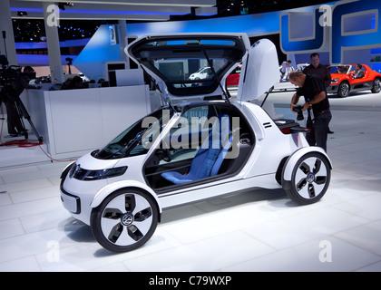 New VW Volkswagen e-car Nils on the IAA 2011 International Motor Show in Frankfurt am Main, Germany - Stock Photo