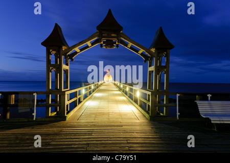 Historic pier with restaurant, Baltic resort Sellin, Baltic sea, Ruegen island, Mecklenburg-Western Pomerania, Germany, - Stock Photo